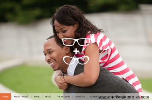 Wedding website with an engagement picture as a backdrop