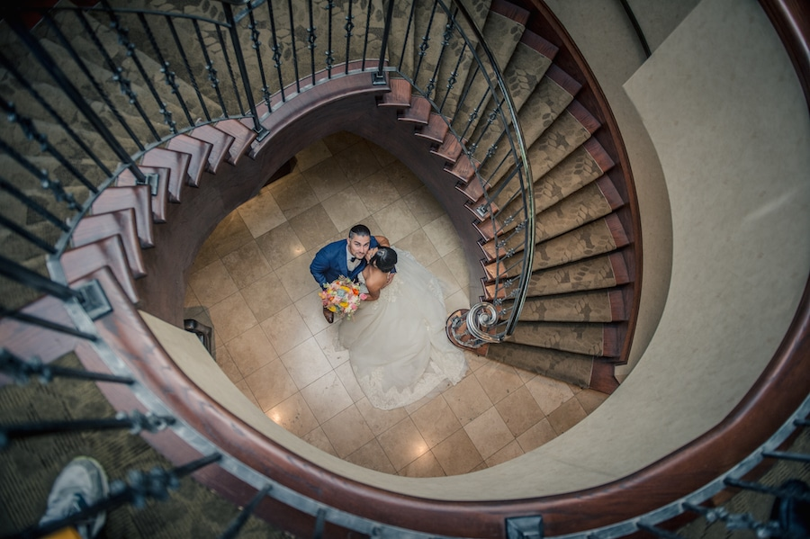 Bride and Groom in stairwell