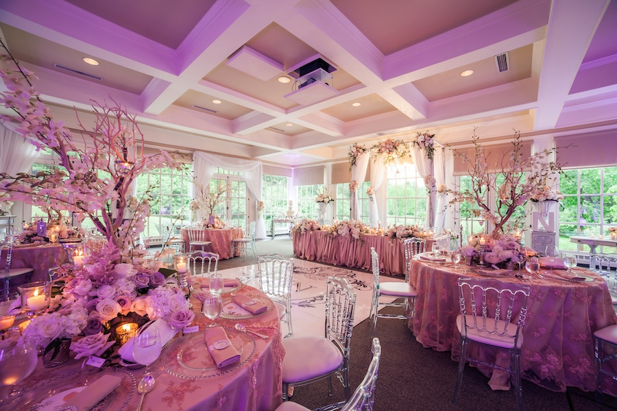wedding reception decor and up lighting