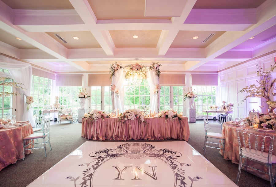 custom dance floor and head table
