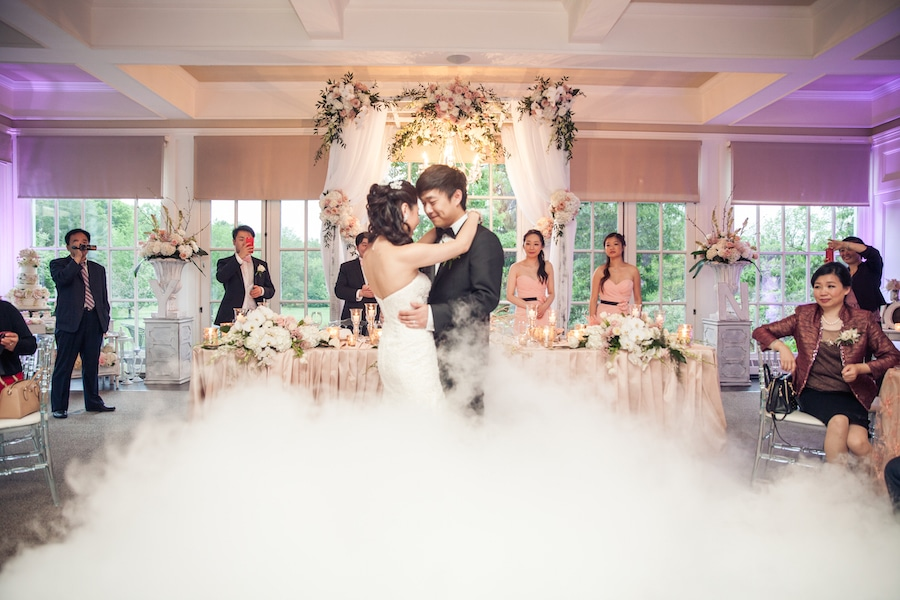 bride and groom First Dance in dry ice