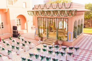 Mandap adorned with florals