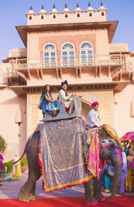 Bride and Groom making a grand entrance on an elephant!