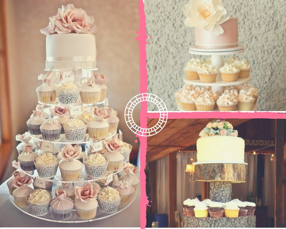 Collage of cupcake tower with one tier mini-cake