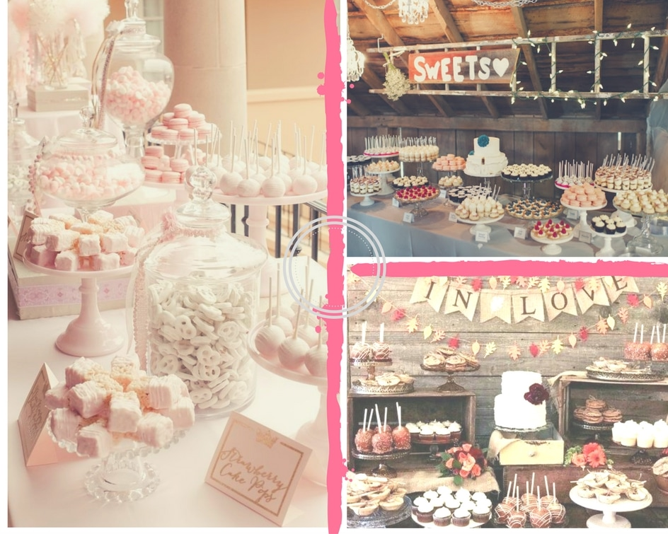 Collage of various sweets tables