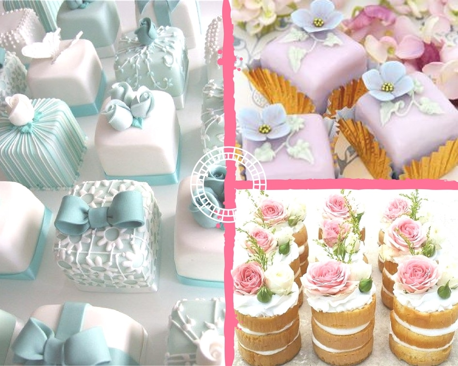 Collage of mini wedding cakes