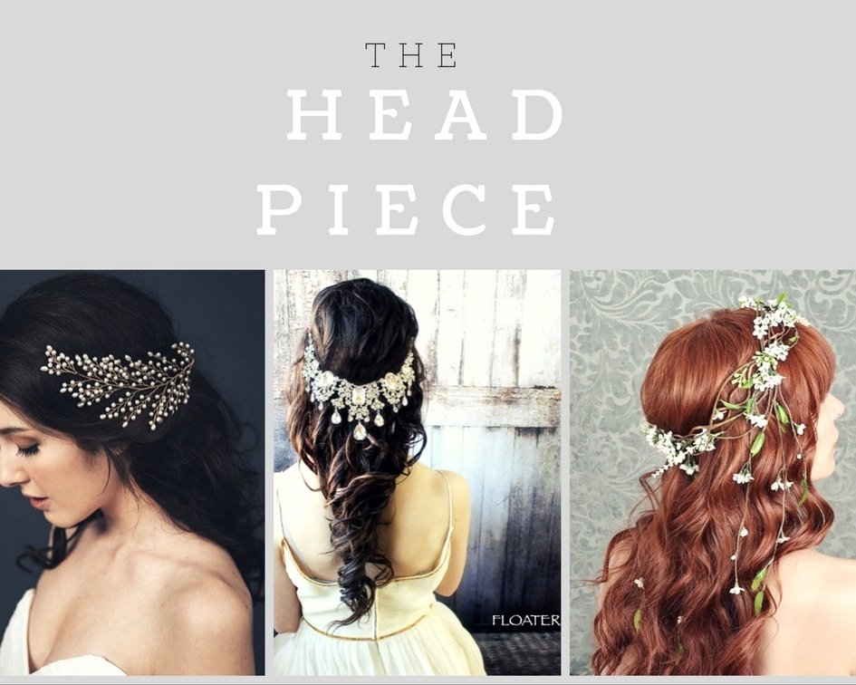collage of wedding head pieces
