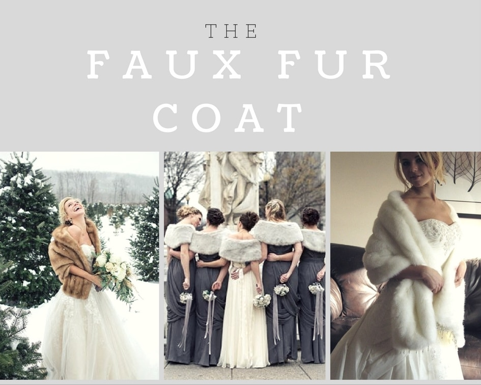 collage of faux fur wedding coats