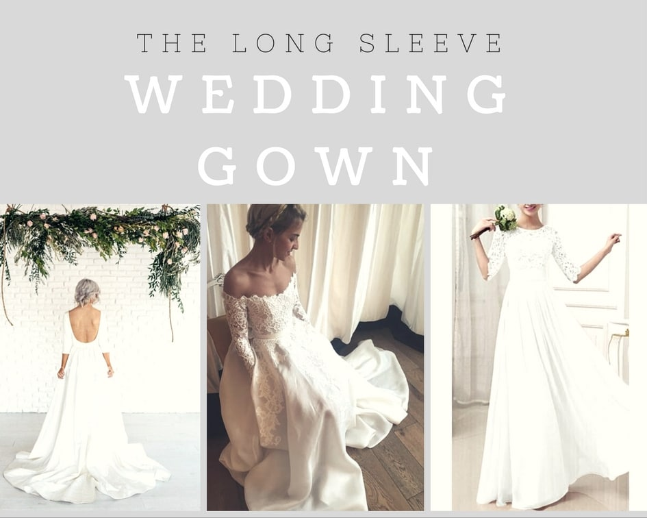 collage of long sleeve wedding dress pictures