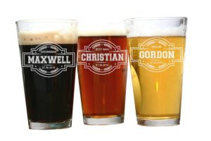 picture of 3 pint glasses with names on them