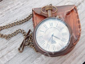 pocket watch with leather holder