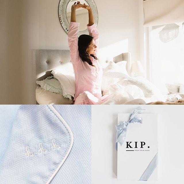 Woman waking up in bed, wearing a KIP nightwear