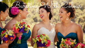 Bride & Bridesmaid with Colorful bouquets