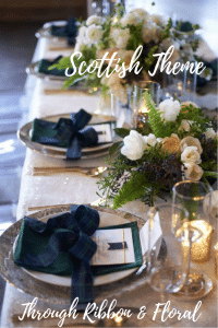Wedding Table Arrangement. Scottish Theme